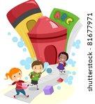 illustration of kids going to... | Shutterstock .eps vector #81677971