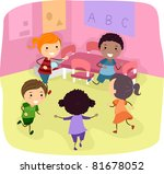 illustration of kids playing in ... | Shutterstock .eps vector #81678052