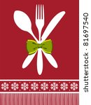 Cutlery menu design background for Christmas season. Fork, spoon and knife with a bow over red background. - stock photo