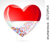 illustration of heart shape medical pill on abstract background - stock vector