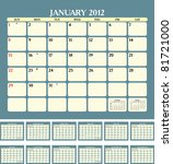 calendar for 2012 in english