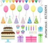 set of vector birthday party... | Shutterstock .eps vector #81733093