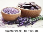 bowl of lavender bath salt with ... | Shutterstock . vector #81740818