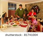 hispanic family serving... | Shutterstock . vector #81741004