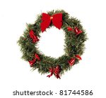 christmas wreath isolated on... | Shutterstock . vector #81744586