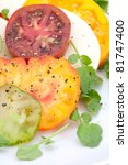 Closeup of Heirloom Tomato and Mozzarella Cheese Salad with watercress. - stock photo