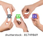 hand and word game isolated on... | Shutterstock . vector #81749869