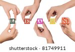 hand and word learn isolated on ... | Shutterstock . vector #81749911