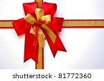 red and gold christmas bow | Shutterstock . vector #81772360