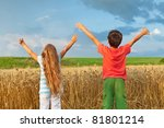 Kids inspire a breath of pure fresh nature - stock photo
