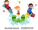 Illustration of Kids Playing with Animated School Supplies - stock vector