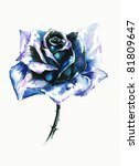 single blue rose watercolor... | Shutterstock . vector #81809647
