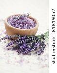bowl of lavender bath salt with ... | Shutterstock . vector #81819052