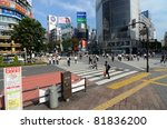 TOKYO, JAPAN - JULY 6: Shibuya crossing is one of the most well known implementations of a scramble crosswalk in the world on July 6, 2011 in Tokyo, Japan. - stock photo