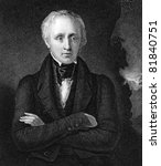 William Wordsworth (1770-1850). Engraved by J.Cochran and published in National Portrait Gallery Of Illustrious And Eminent Personages encyclopedia, United Kingdom, 1840. - stock photo