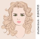 sketch of a beautiful young... | Shutterstock .eps vector #81842935