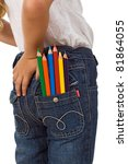 Child with color pencils in back pocket - back to school concept, isolated - stock photo