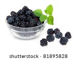 Blackberries In Glass Bowl Wit...