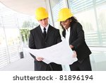 a diverse man and woman working ... | Shutterstock . vector #81896194