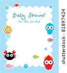 baby ocean shower card | Shutterstock .eps vector #81897424