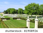 Canadian memorial and cemetery in Normandy - stock photo