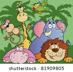 happy jungle animals vector...