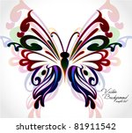 Stock vector abstract colorful background with floral butterfly vector 81911542