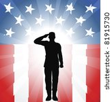 A patriotic soldier saluting in front of an American background - stock photo