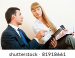 two business people are meeting ...   Shutterstock . vector #81918661
