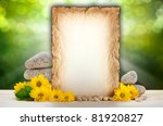 Background - old paper, flowers and stones - stock photo