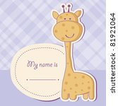Stock vector baby shower card with cute giraffe 81921064