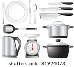 kitchenware pots  knives  and... | Shutterstock .eps vector #81924073