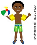 Raster version of boy in swimsuit with arm floats and beach ball. - stock photo
