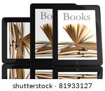group of books and teblet...   Shutterstock . vector #81933127