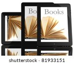 group of books and teblet...   Shutterstock . vector #81933151