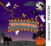 signboard with halloween party... | Shutterstock .eps vector #81936286