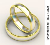 Wedding Rings from white and yellow gold - stock photo