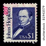 Small photo of USA-CIRCA 1989:A stamp printed in USA shows image of Johns Hopkins was a wealthy American entrepreneur, philanthropist and abolitionist of 19th-century Baltimore, Maryland, circa 1989.