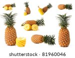 large page of pineapple fruits... | Shutterstock . vector #81960046
