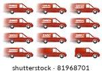 speeding red delivery truck... | Shutterstock . vector #81968701