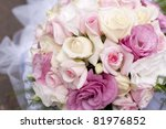 Wedding bouquet of pink roses, soft focus. - stock photo