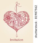 Heart Floral Design  Hand Draw...