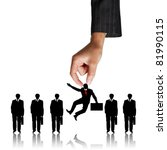Human Resources concept: choosing the perfect candidate for the job - stock photo