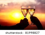 man and woman clanging wine... | Shutterstock . vector #81998827