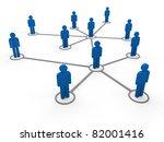3d Blue Social Network...