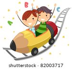 Illustration of Kids Riding on a Pencil Ride - stock vector