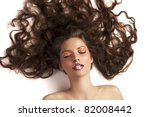 beauty shot of a laying girl... | Shutterstock . vector #82008442