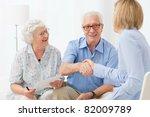 happy senior couple sealing...   Shutterstock . vector #82009789