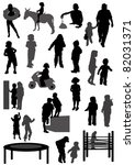 collection of silhouettes of... | Shutterstock .eps vector #82031371