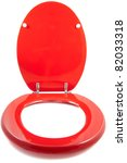 Red Toilet Seat Isolated On A...